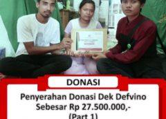 Penyerahan Donasi Kepada Dek Defvino